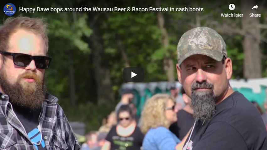 Happy Dave bops around the Wausau Beer & Bacon Festival in cash boots