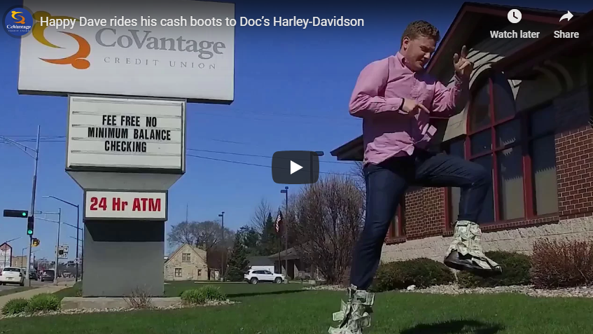 Happy Dave rides his cash boots to Doc's Harley-Davidson