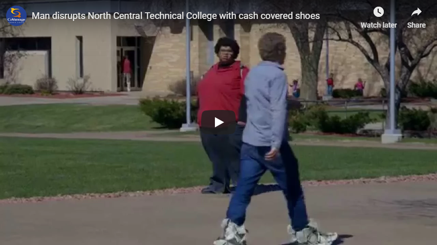 Happy Dave disrupts North Central Technical College with cash covered shoes